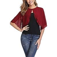 Donnalla Women Short Sleeve Shrug Cardigan Open Front Chiffon Sheer Bolero Jacket Shrugs