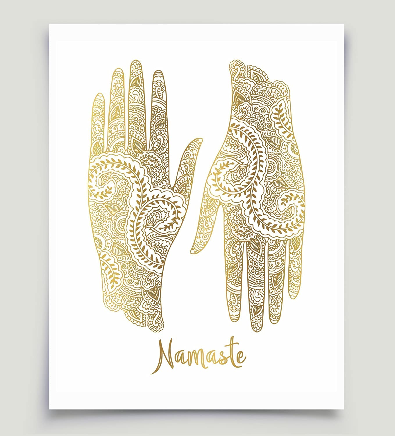 Amazon.com Namaste Mehndi Hands Art Real Gold Foil Unframed