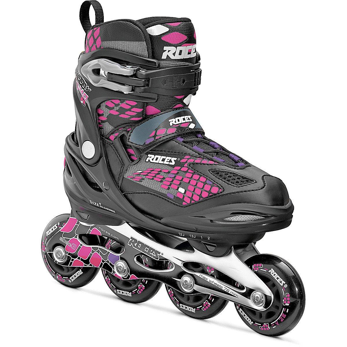 Roces Moody 4.0 Girl Girl's Adjustable Inline Skate, Black/Pink Lightning, US 13Jr-3