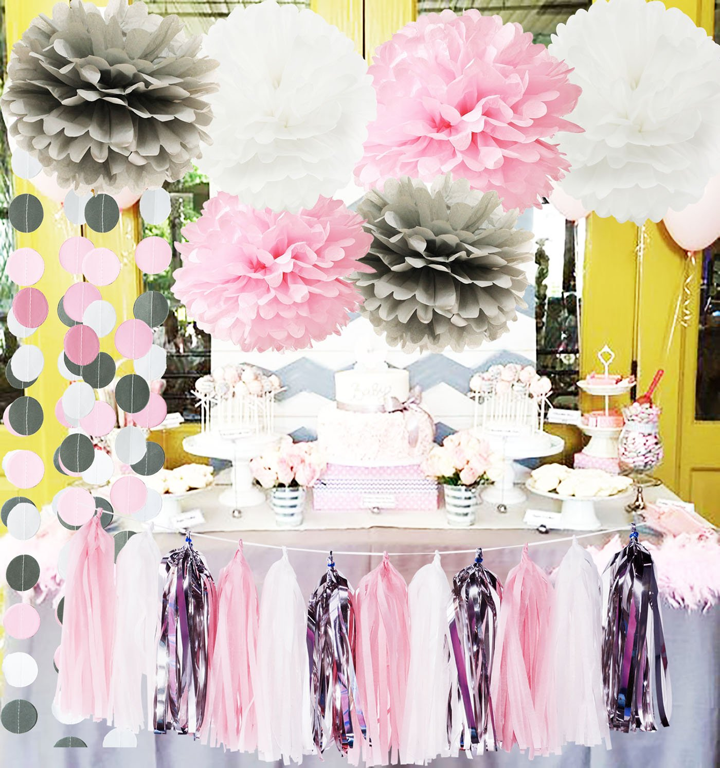 1st Birthday Decorations Girl.Details About First Birthday Decorations Girl Baby Pink Grey Baby Girl Baby Shower Party De