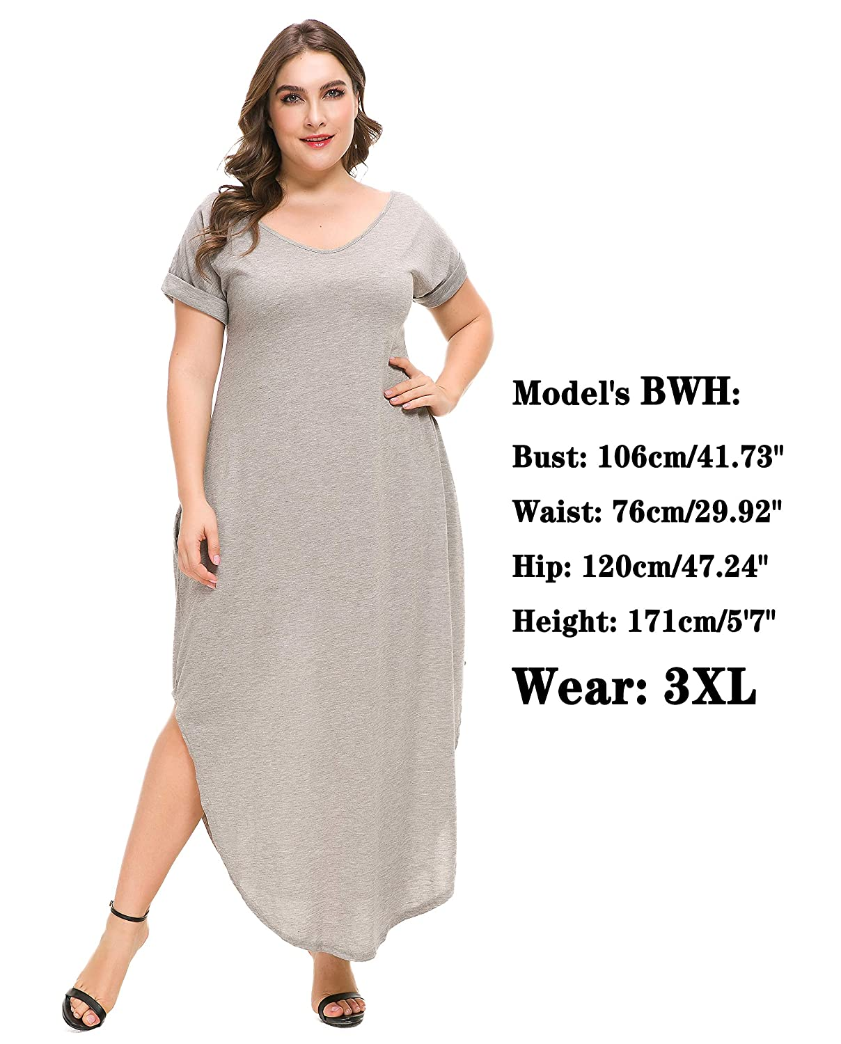 7a5b8779e75 PlusSize Depot Women s Plus Size Casual Loose Long Dress Short Sleeve Side  Split Maxi Dresses with Pocket 1XL-4XL at Amazon Women s Clothing store