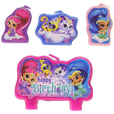 amscan Shimmer and Shine Happy Birthday Candle Sets (4 ct) One Size, Multicolor 170332: Toys & Games