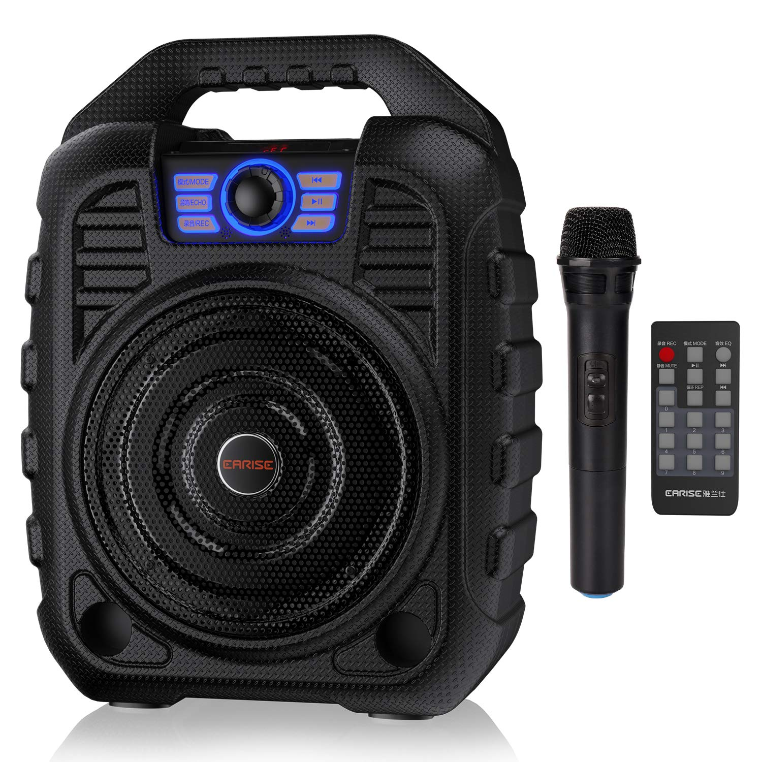 EARISE T26 Portable PA System Bluetooth Speaker with Wireless Microphone, Rechargeable Karaoke Machine with FM Radio, Audio Recording, Remote Control, Supports TF Card/USB, Perfect for Party by Earise