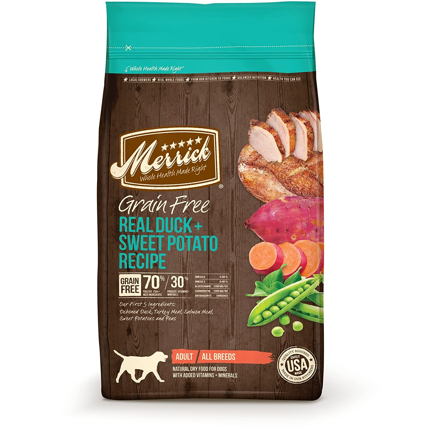 4 lb Merrick Grain Free Real Duck & Sweet Potato Dry Dog Food, 4 lbs.