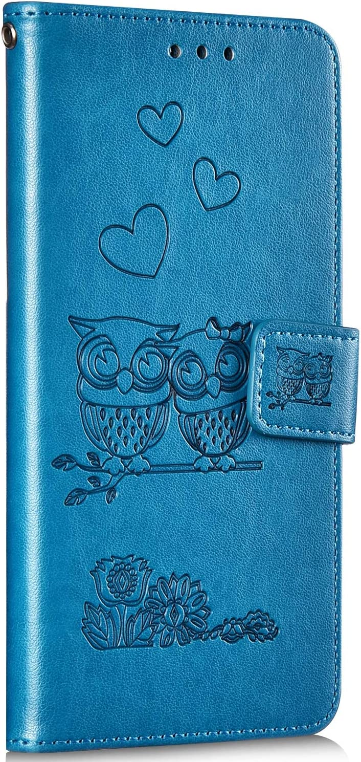 Saceebe Compatible avec Huawei P30 Lite Coque Portefeuille /Étui Housse 3D Coeur Fleur Hibou Motif Pochette Housse Luxe Cuir Coque /à Rabat Antichoc Folio Coque Support Porte-Cartes,Bleu