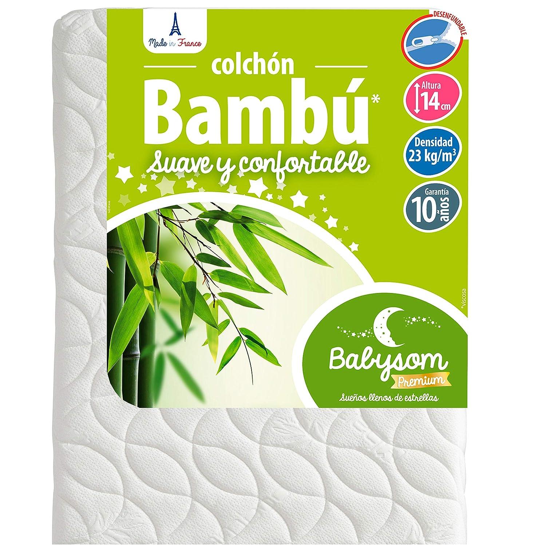 Babysom - Colchón Cuna Bebé Bambú - 60 x 120 cm - Natural - Altura 14 cm - Antiácaros - Antiasfixia - Transpirable - Reglaje Térmico - Desenfundable: ...