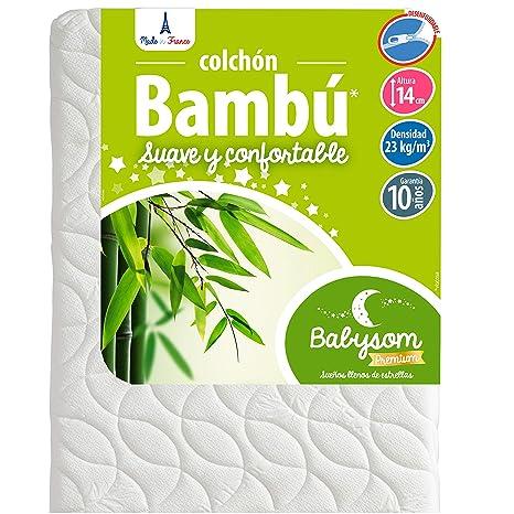 Babysom - Colchón Cuna Bebé Bambú - 60 x 120 cm - Natural - Altura 14