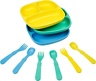 product image for Re-Play Made in The USA Dinnerware Set - 3pk Divided Plates with Matching Utensils Set (Surf)