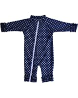 SwimZip Baby Girl and Toddler Girl Long Sleeve Sunsuit Romper Swimwear with UV UPF 50+