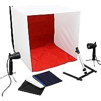Luxburg® Professionelles Fotozelt Fotobox Fotostudio 2x50W Leuchte, 4 Hintergründe, Kameraständer im Set 60x60x60cm