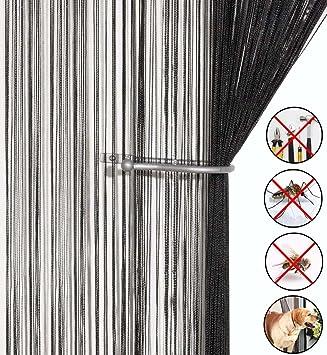 Aizesi String Curtain Noir Pour Rideau Coulissant Insectes Rideau De