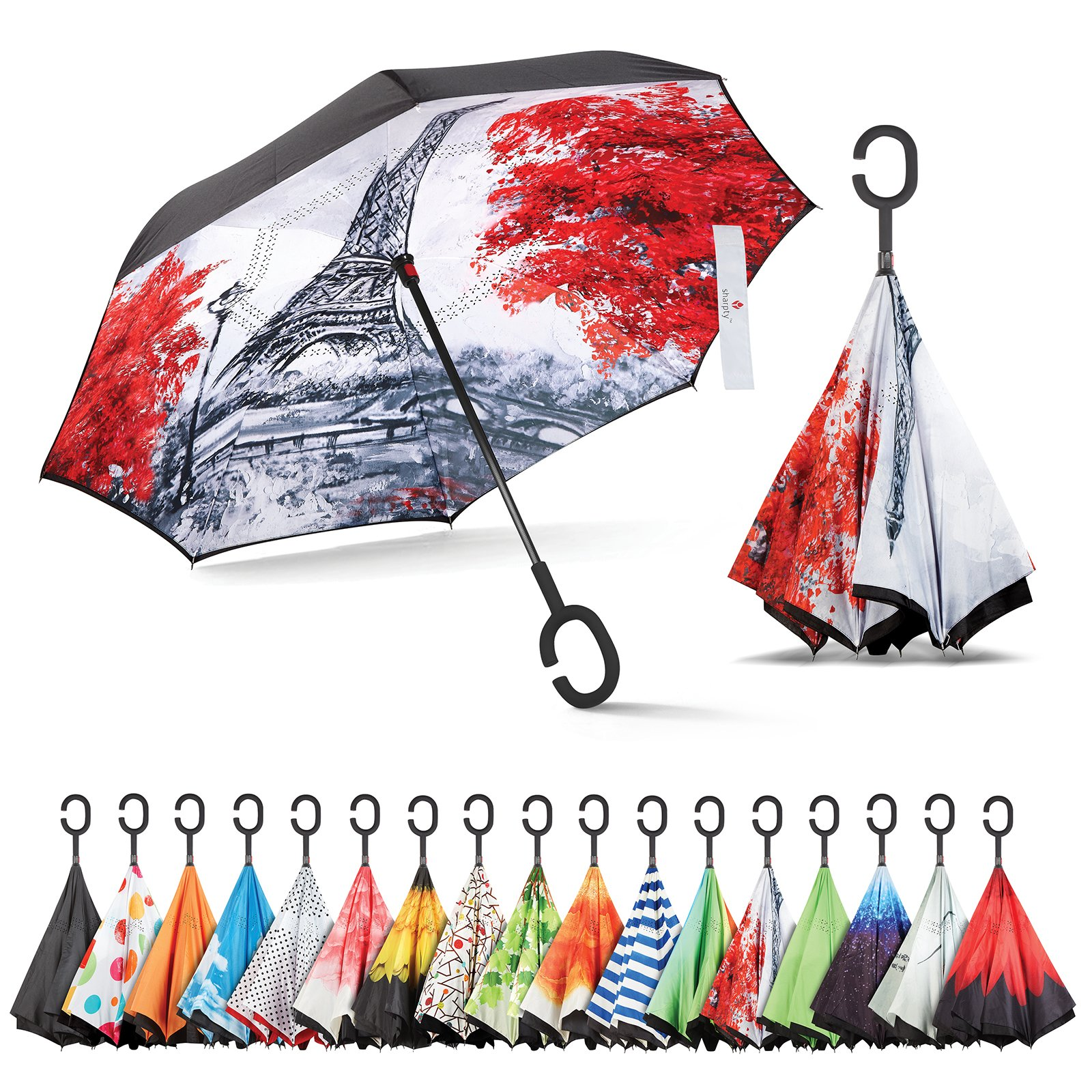 Inverted Umbrella, Best Windproof Umbrella, Cars Reverse Umbrella, Beautiful Rain Umbrella with UV Protection, Upside Down Umbrella with C-Shaped Handle and Carrying Bag (Green Shade)
