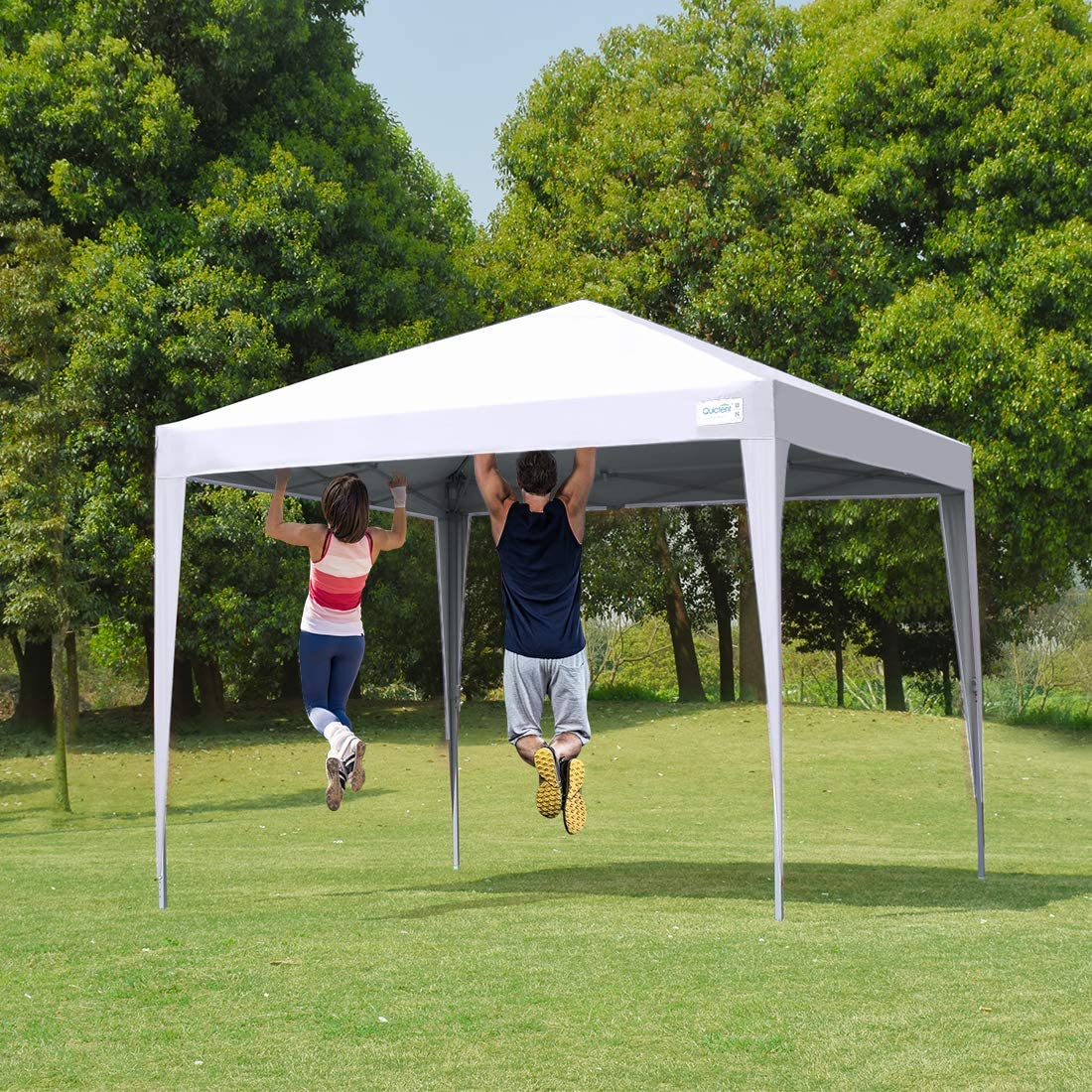 Quictent Upgraded Privacy 10×10 EZ Pop Up Canopy Tent Instant Folding Outdoor Gazebo Party Tent Waterproof White
