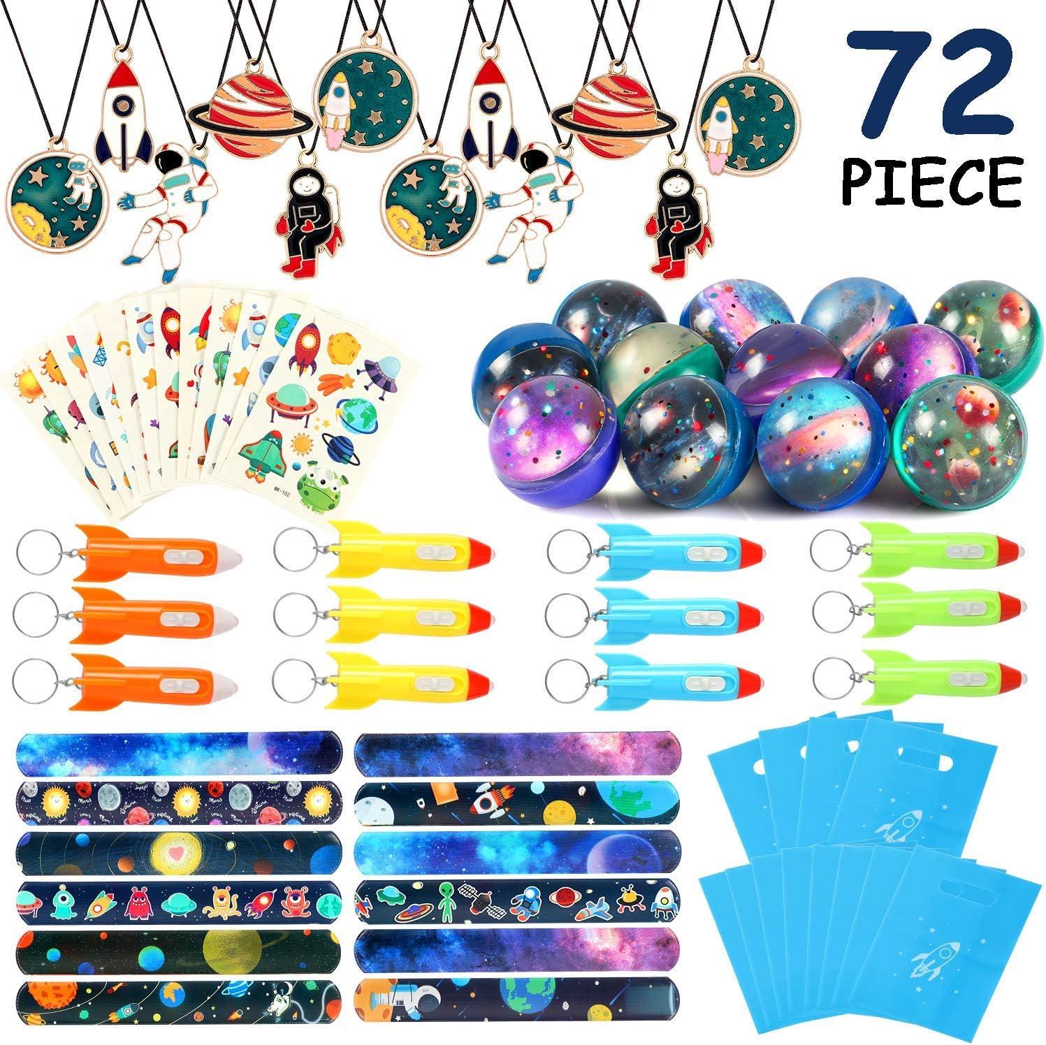 vamei 72 Piezas de Aarticulos de Fiesta Niño Galaxia Suministros de Fiesta en el Espacio Exterior con Pegatinas de Llavero de Cohete Llenadores de Bolsas de Fiesta para niños Regalos Cumpleaños