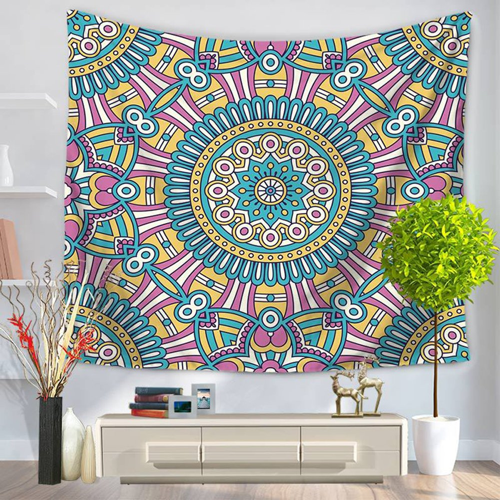 ChezMax Mandala Hippie Bohemia Square Polyester Tapestry Multi Purpose Decorative Wall Hanging Mural Art Dark Blue Pattern 59 X 51 CM-MY-GT1001-005