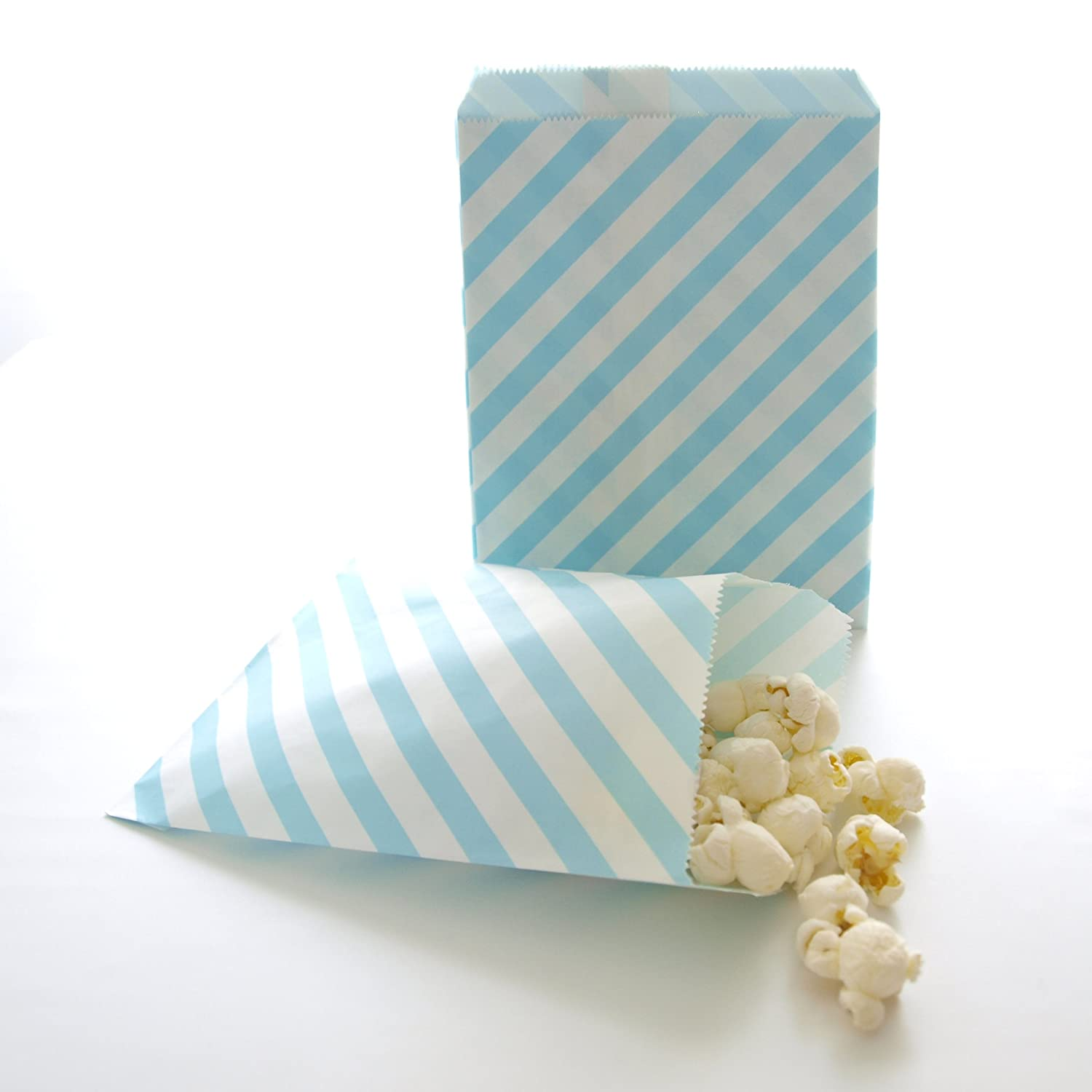 Amazon.com: Blue Paper Bags, Candy Treat Bags, Kids Birthday Favors ...