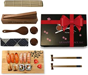 Luxury Sushi Making Kit for Beginners Home Use - Japanese DIY Sushi Maker Set w/Bamboo Mat, 2 Chopsticks & Holders, Sauce Dishes, Rice Paddle, Sushi Plate, Solid Oak Maki Molder & Cotton Bag,15 pcs