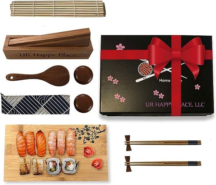 Luxury Sushi Making Kit for Beginners Home Use - Japanese DIY Sushi Maker Set w/Bamboo Mat, 2 Chopsticks & Holders, Sauce Dishes, Rice Paddle, Sushi Plate, Solid Oak Maki Molder & Cotton Bag,15 pcs