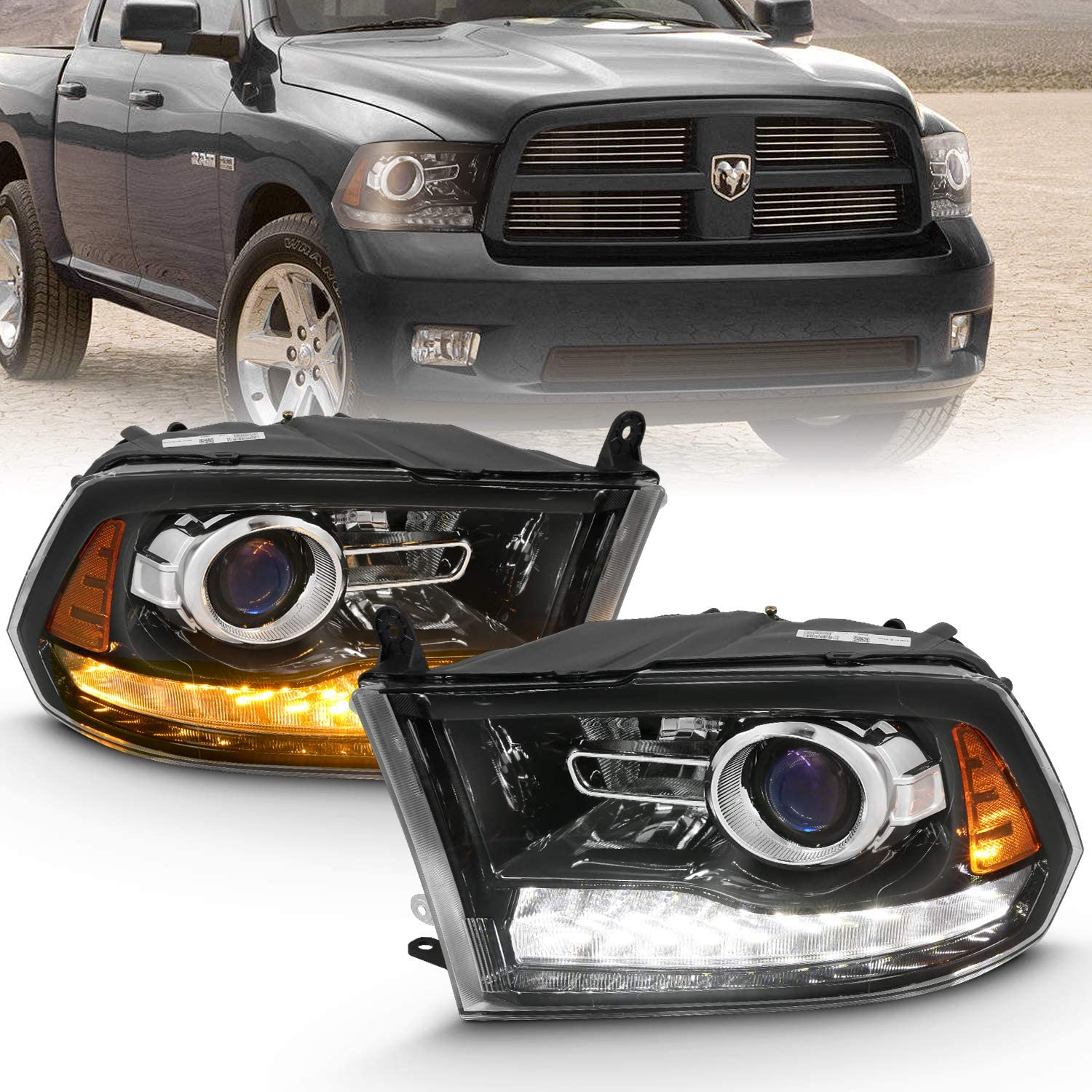 AmeriLite LED Plank Bar Black Replacement Headlights Assembly for Dodge Ram 1500 2500 3500 Driver and Passenger Side Set