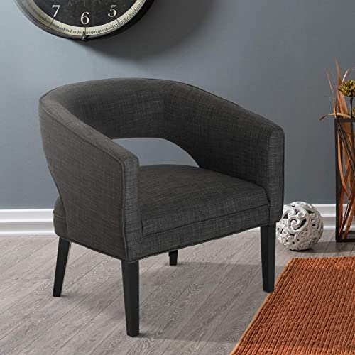 HOMCOM Linen Upholstered Tub Barrel Dinning Chair Accent Livingroom Armchair