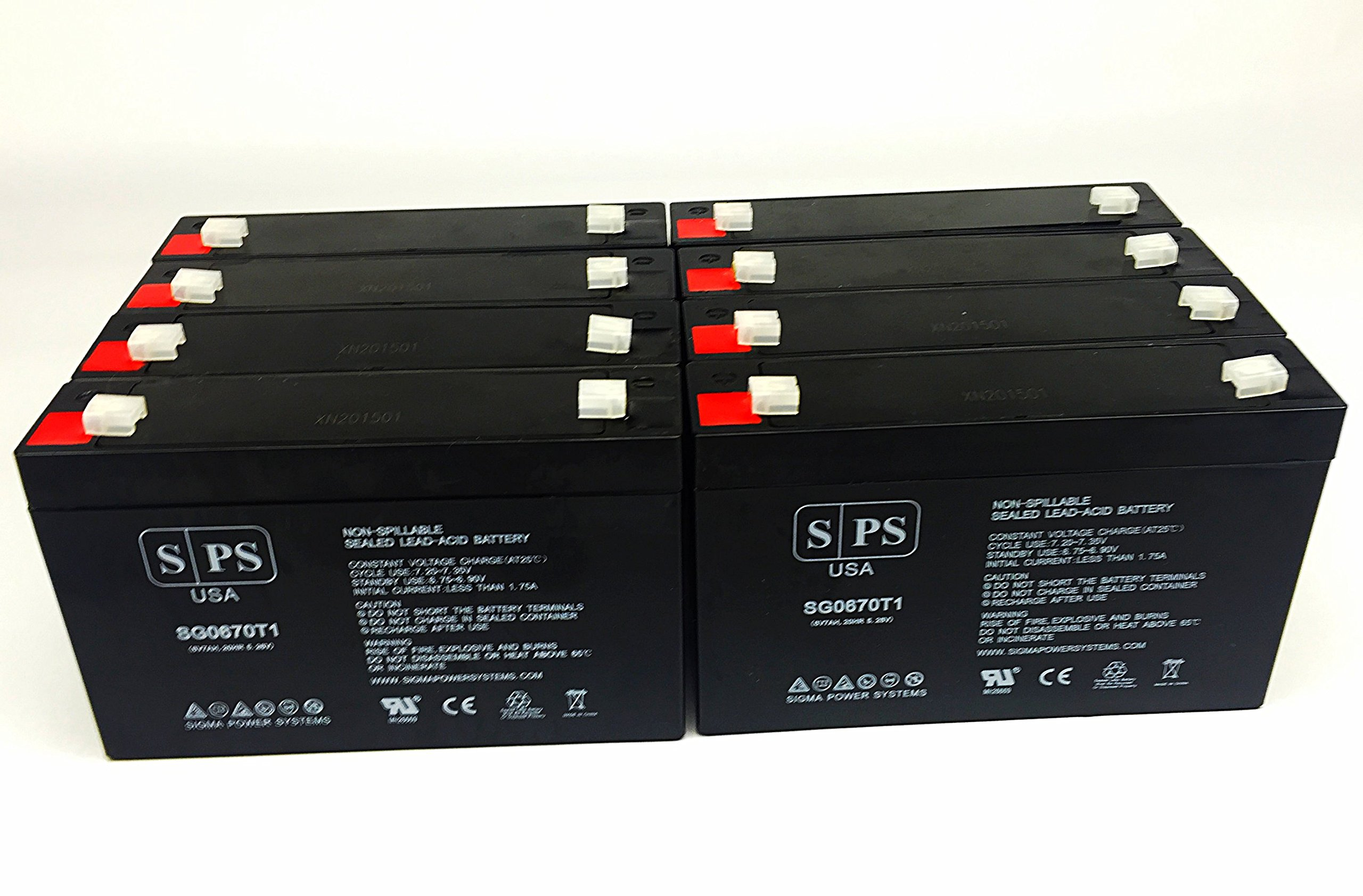 6V 7Ah Replacement Battery AJC-C7S - SPS Brand (8 Pack)