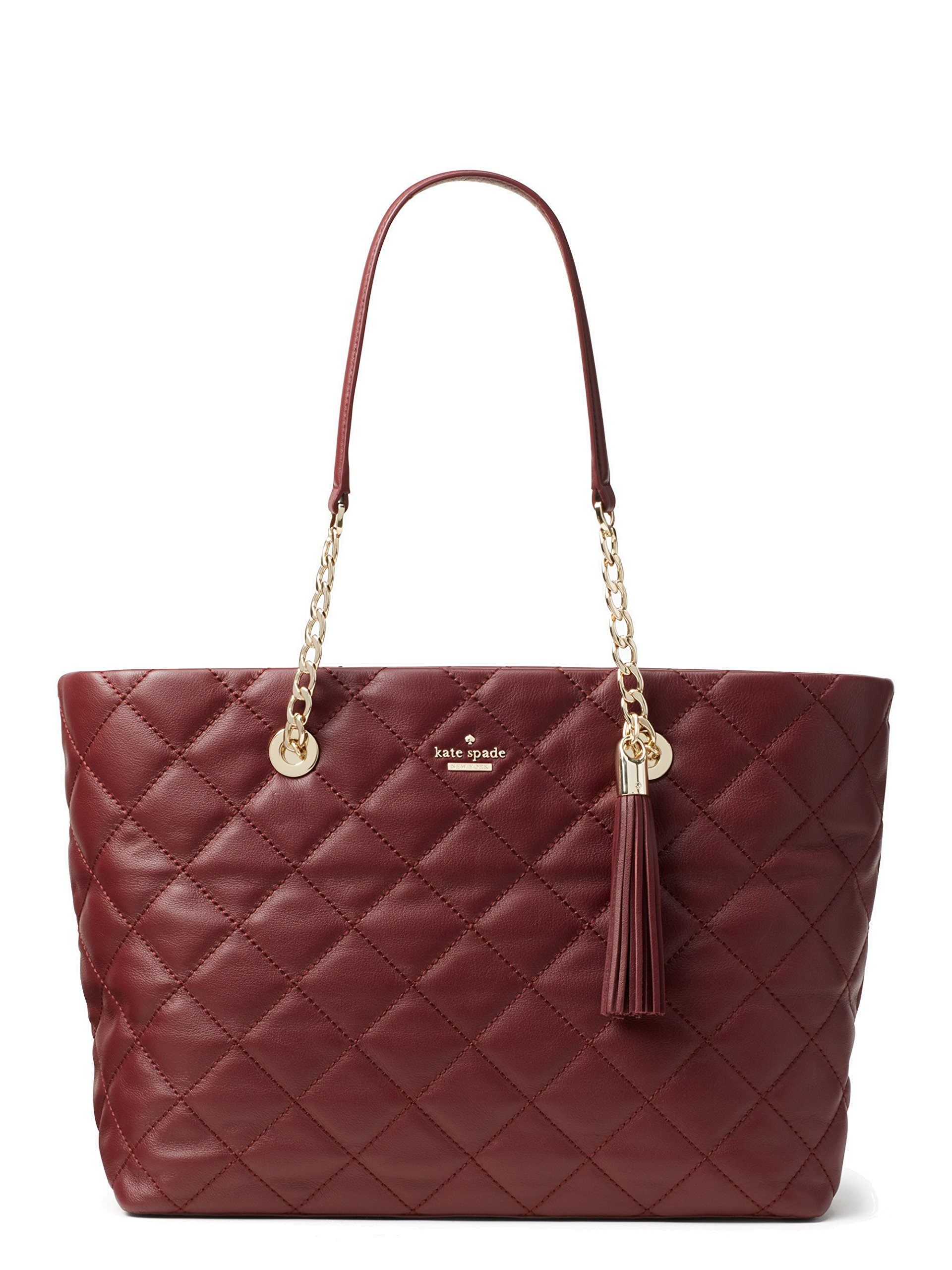 Kate Spade New York Emerson Place Priya Quilted Large Leather Shoulder Bag, Cherrywood