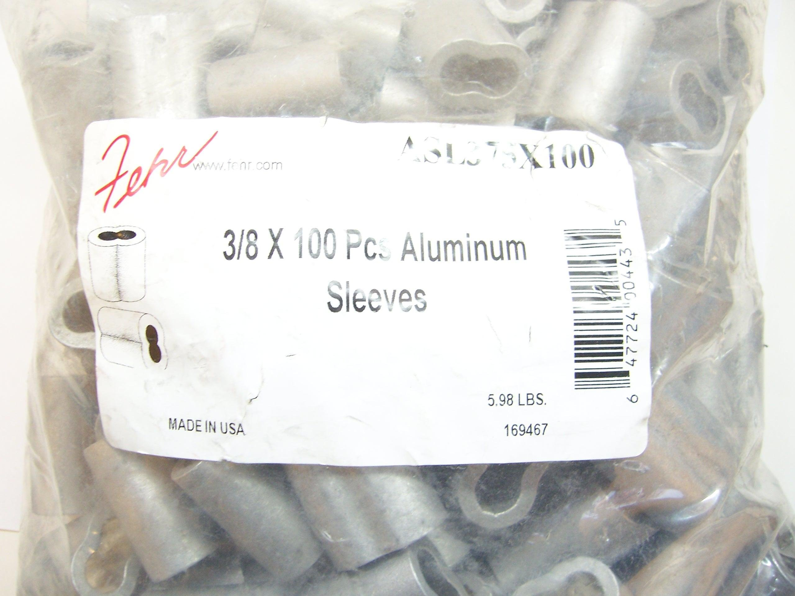 Aluminum Swage Sleeves for 3/8'' Diameter Cable, Made in USA. 100 pcs