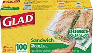 Glad® Zipper Food Storage Sandwich Bags - 100 Count, pack of 12