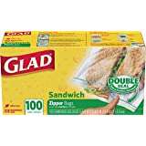 Glad Zipper Food Storage Sandwich Bags - 100 Count (Package May Vary)