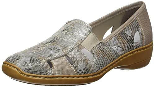 Rieker 41385-91, Mocasines Mujer, Dorado (Altgold/Fango-Silver)