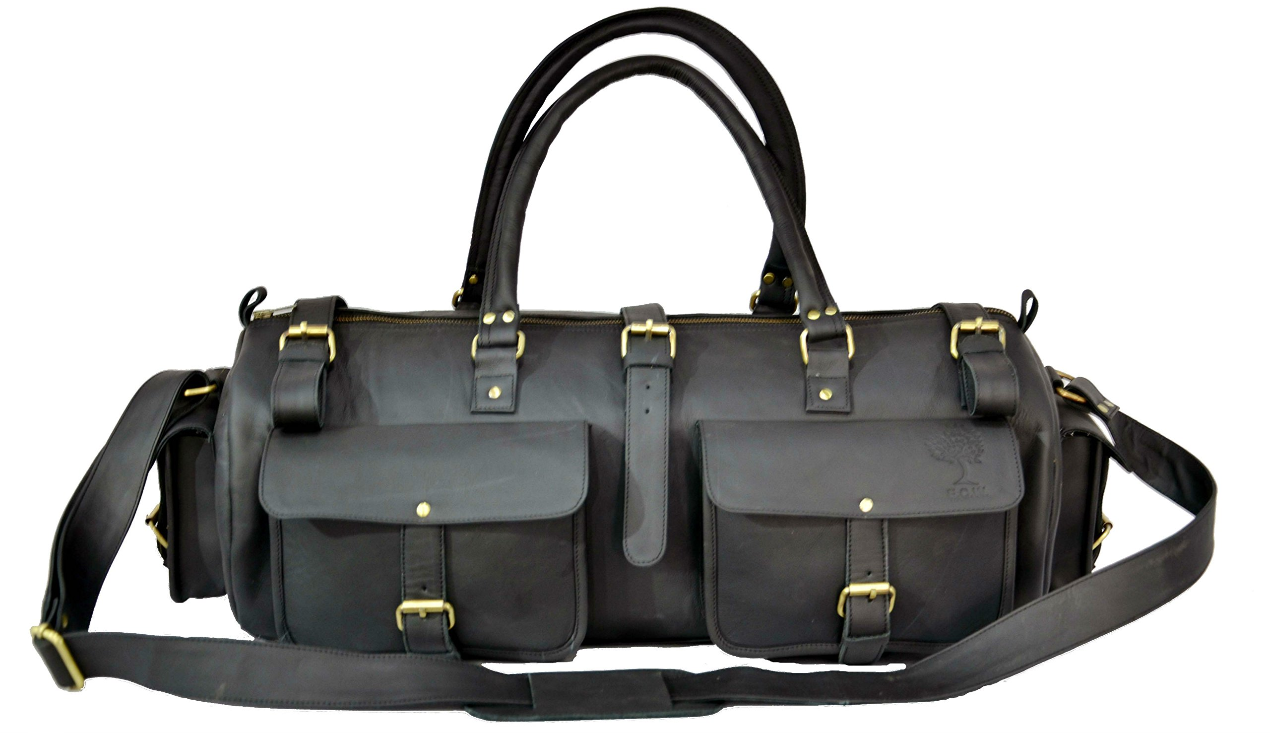 22 Inch Leather Travel Bag Vintage Duffel Men's Gym Cabin Luggage Holdall Check in Cabin Luggage