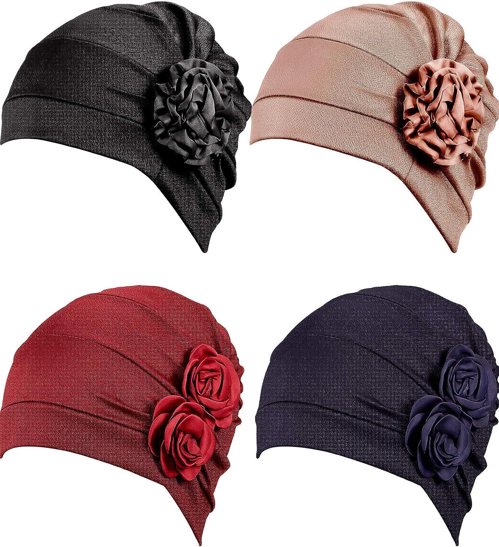 4 Piezas Turbante Envoltura de Cabeza de Flor Gorro Bufanda Beanie Sombrero para la Pérdida del Cabello para Hombre y Mujer