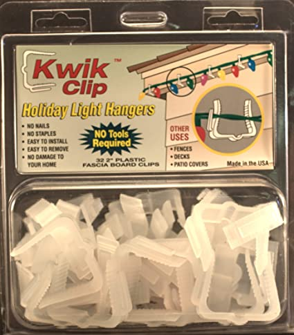 Kwik Clip Holiday Christmas Light Hangers 2u0026quot; Fascia Boards Clip Made  In ...