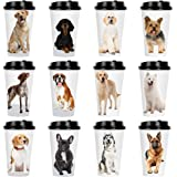 Youngever 72 Sets Disposable Coffee Cups with Lids, To Go Hot Coffee Cups, Durable Paper Cups with Lids, Dog Puppy Theme Desi