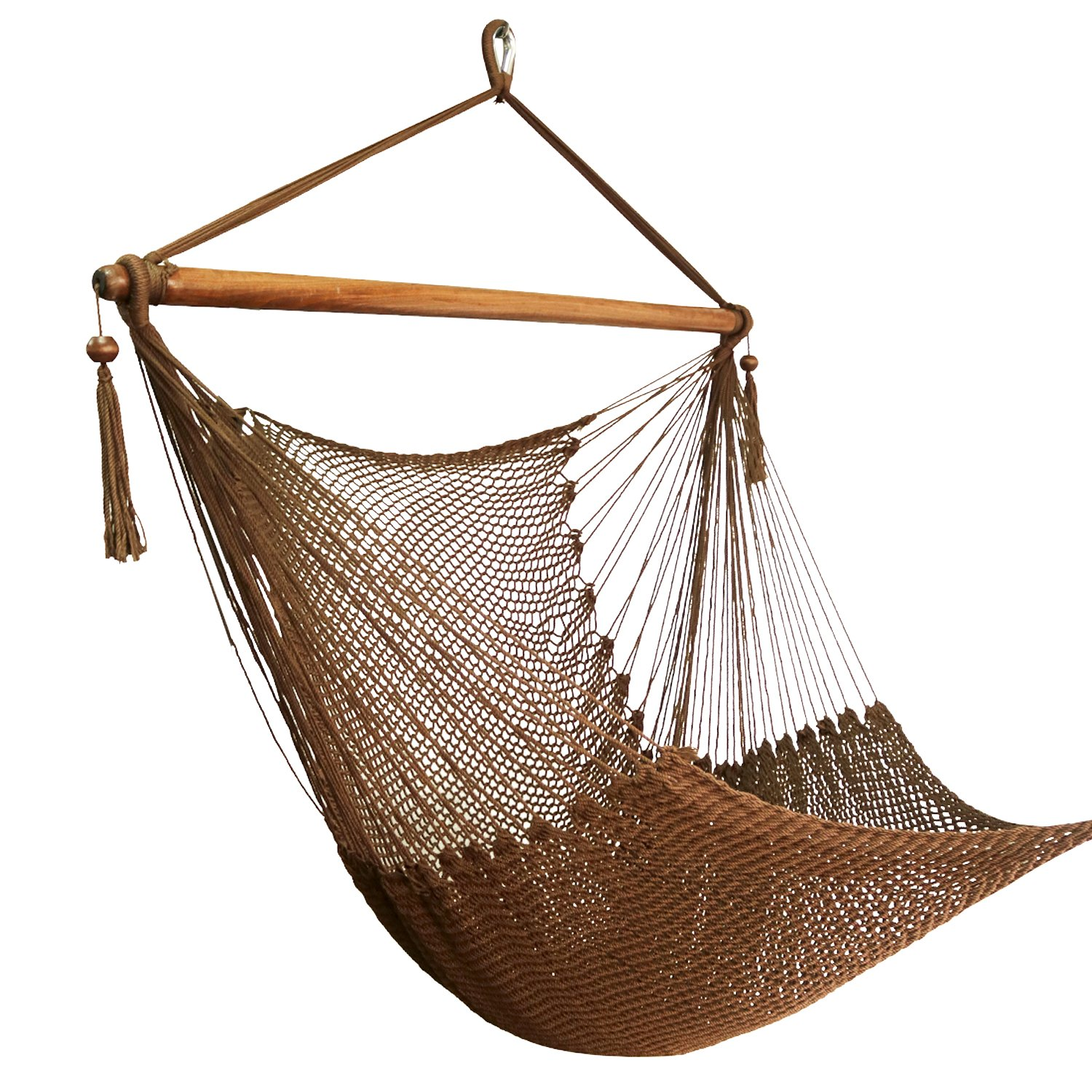 Best Sunshine Large Caribbean Hammock Hanging Chair with Footrest, Large Hammock Net Chair, Polyester (Brown)