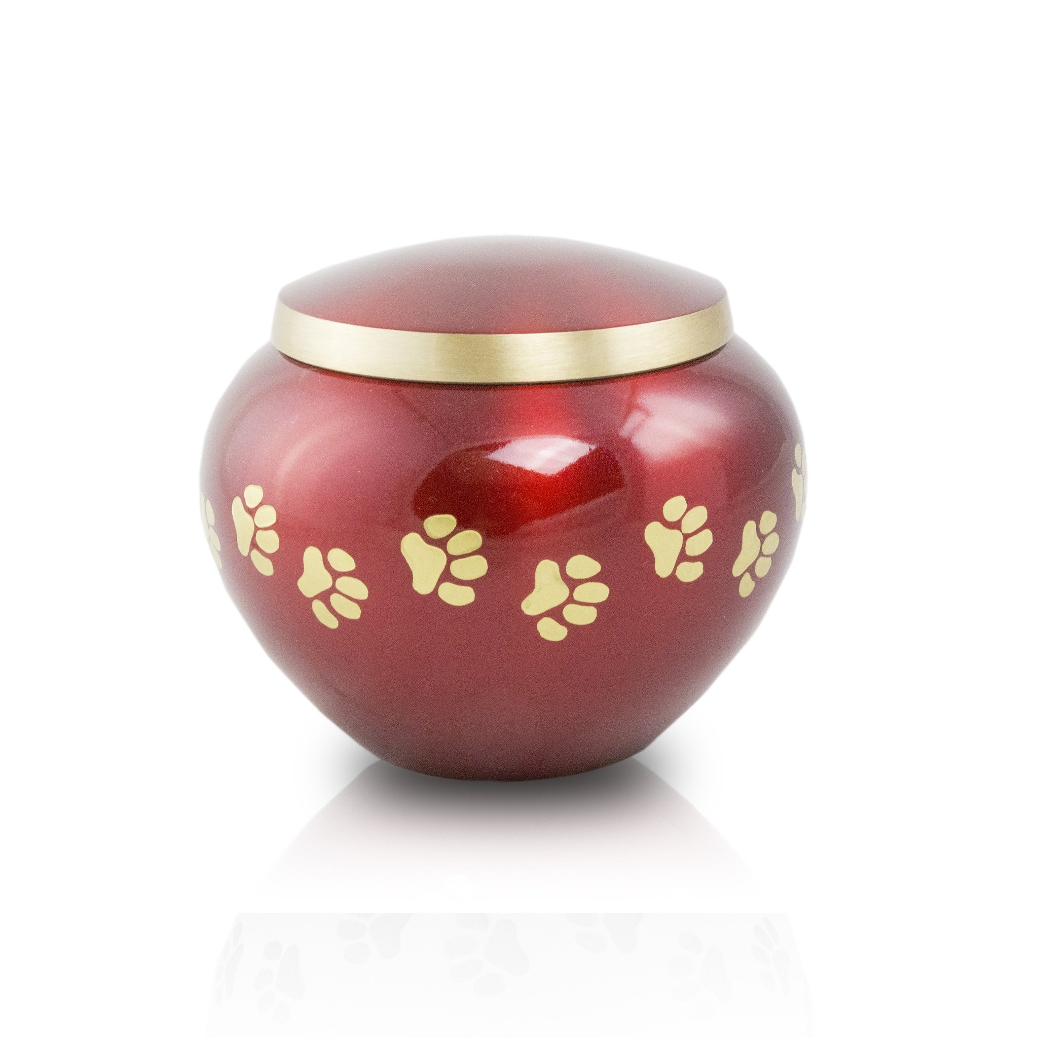 Paw Prints Bronze Dog, Cat Animal Memorial Urn - Extra Small - Holds Up To 25 Cubic Inches of Ashes - Crimson Red Pet Cremation Urn for Ashes - Engraving Sold Separately