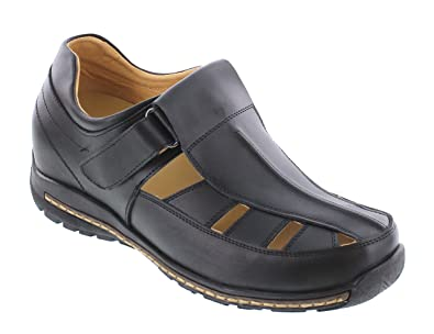 Toto Men's Invisible Height Increasing Elevator Shoes Black Leather Fisherman Sandals 2.8 Inches Taller V12131