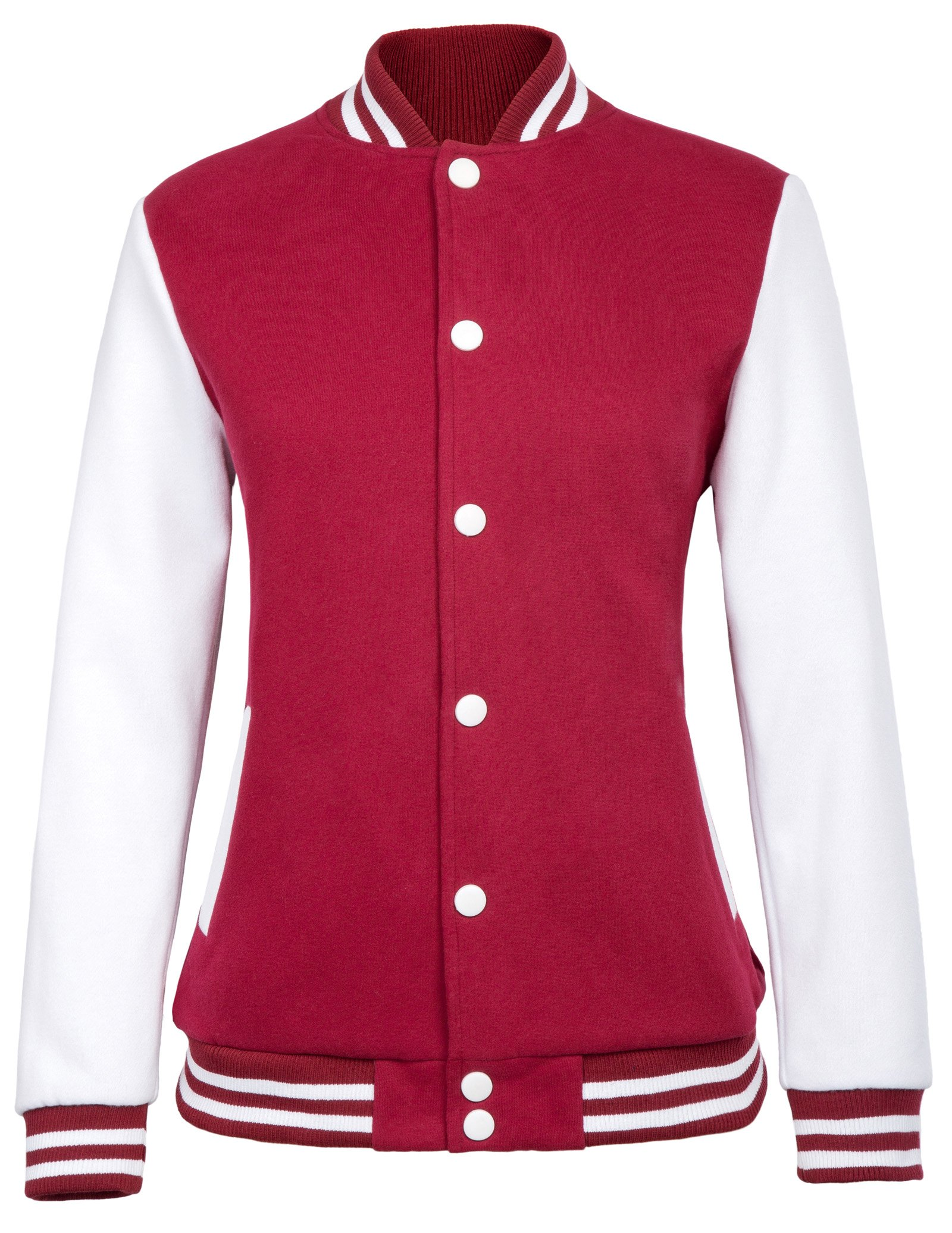 JACK SMITH Women's Street Style Baseball Uniform Coat Bomber Jackets (M,Red 717)
