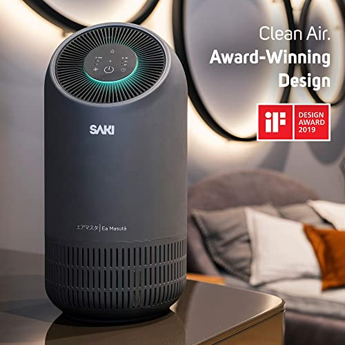 SAKI Air Purifier for Home, Office or Bedroom – Silent Portable Odor Eliminators, True HEPA H13 Filter, 4-Stage Filters to Remove Allergies, Dust Particle, Pets, Hair, Mold, Smoke, Odor