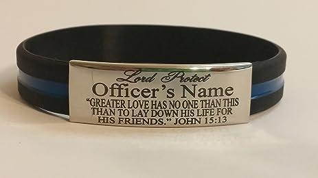 Amazon Com Police Officer Laser Engraved Shiny Finished Bracelet
