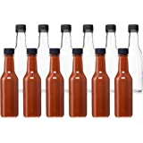 California Home Goods 並行輸入品 5 Oz Empty Clear Glass Hot Sauce Bottles with Black Caps and Drip Dispensing Tops, 11.8 x 7.1 x 8 inches