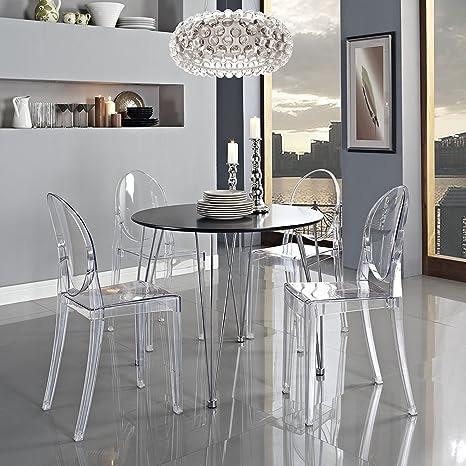 Panana 2 Silla con reposabrazos Transparente diseño Moderno Silla de Comedor Salón Silla Cómodo Asientos para Familia Restaurante y Exterior – ...