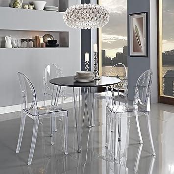 Across Eu Shop Lot De 2 Ghost Chaises En Acrylique Polycarbonate Pour Salle A Manger Salon Bureau Restaurant Et Jardin Taille 91 35 48cm Poids
