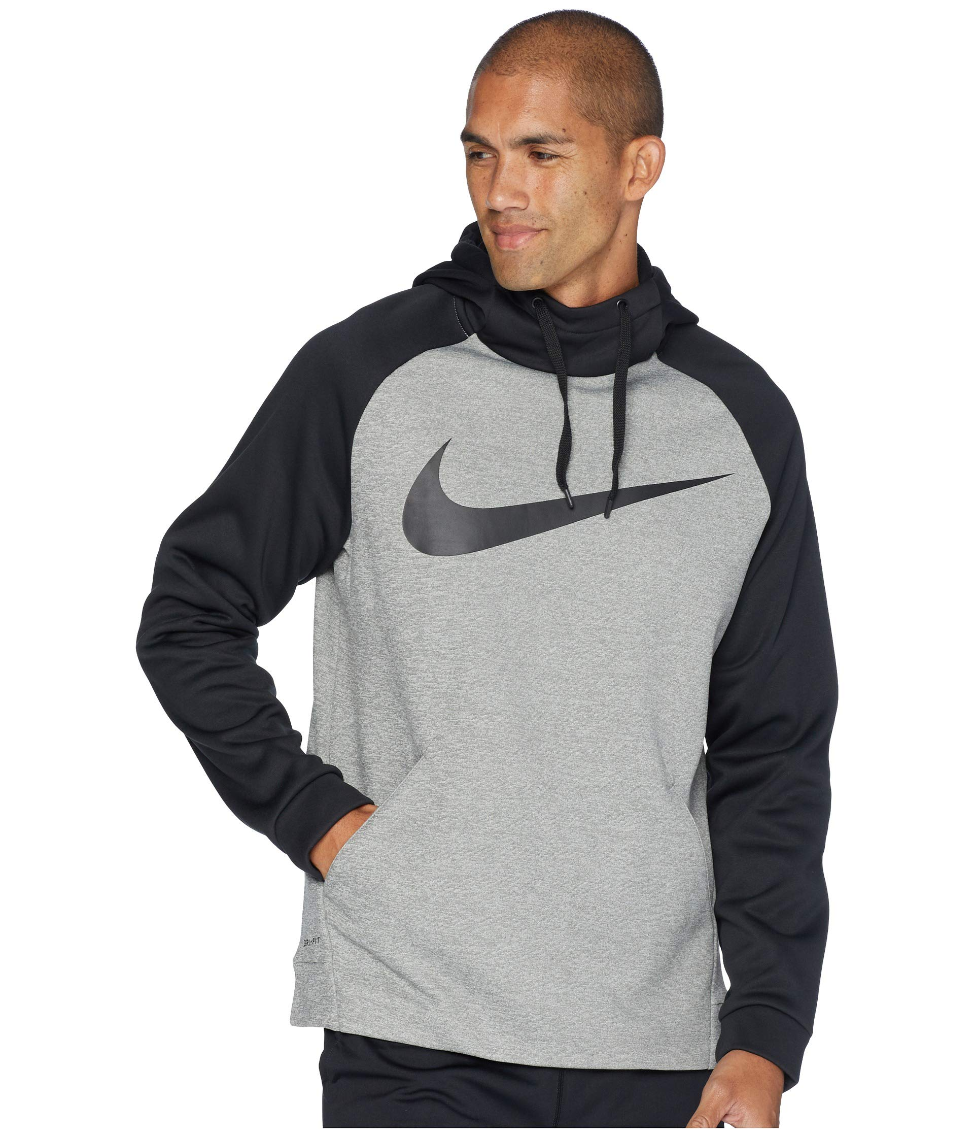 Nike Men's Therma Swoosh Training Hoodie Dark Grey Heather/Black Size Small by Nike