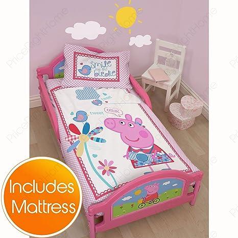 Peppa Pig de tulipanes de portero de fútbol para niño pequeño de cama + colchón de