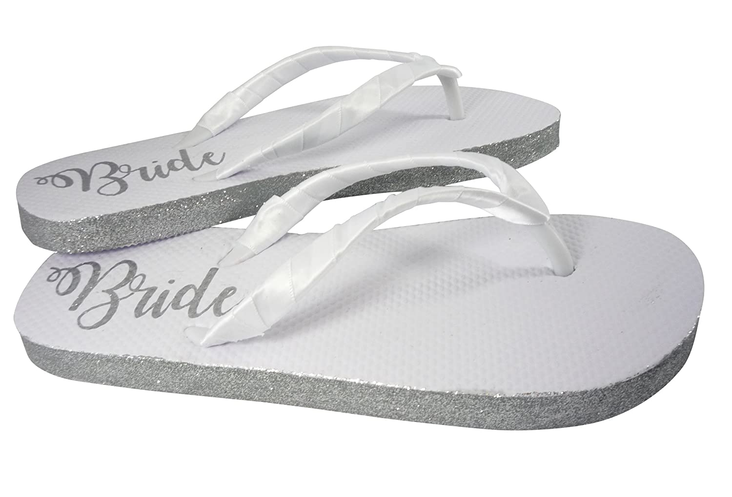 2cfbafba250a Amazon.com  Customizable Colors Glitter Bride Sole Wedding Flip Flops for Bridal  Shoes in White Flat  Handmade