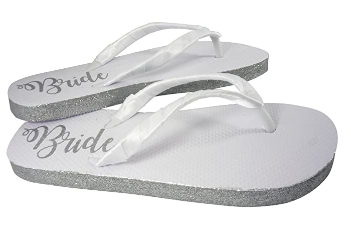 12353627891 Amazon.com  Customizable Colors Glitter Bride Sole Wedding Flip Flops for Bridal  Shoes in White Flat  Handmade