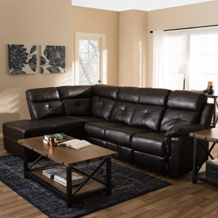 Amazon.com: Baxton Studio Roland 2 Piece Faux Leather Reclining ...