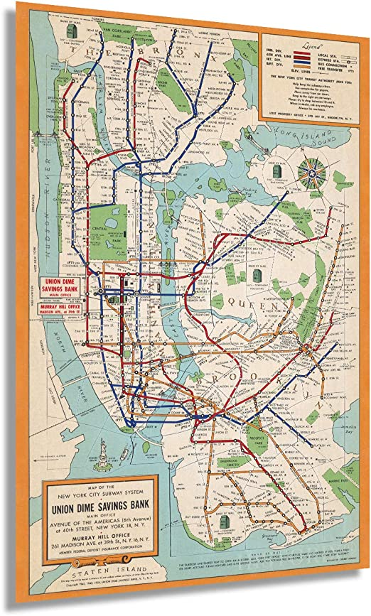 Map Of Subways In Nyc.Amazon Com Historix Vintage 1954 New York City Subway Map Poster 16 X 24 Inch Vintage Map Wall Art New York Subway Map Art Nyc Subway Poster Nyc Subway