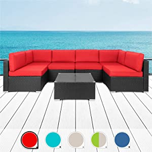 SUNLEI 7pcs Patio Outdoor Furniture Sets Conversation Set,Low Back All-Weather Rattan Sectional Sofa with Tea Table&Washable Couch Cushions(Black Rattan)(Red)